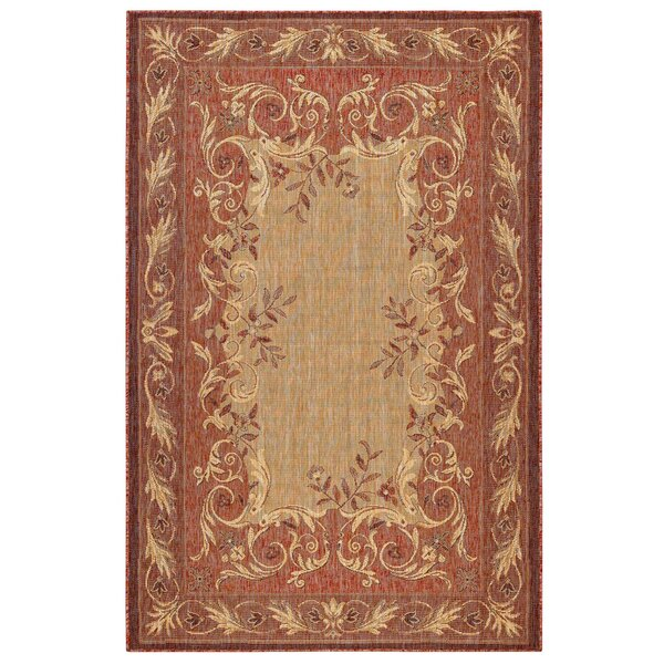 Arverne Aubusson Red/Beige Indoor/Outdoor Area Rug by Charlton Home