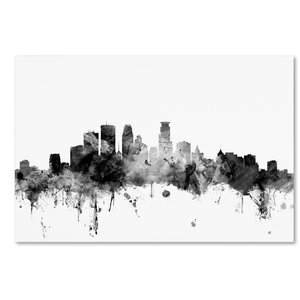 'Minneapolis MN Skyline' Graphic Art on Wrapped Canvas by Ivy Bronx
