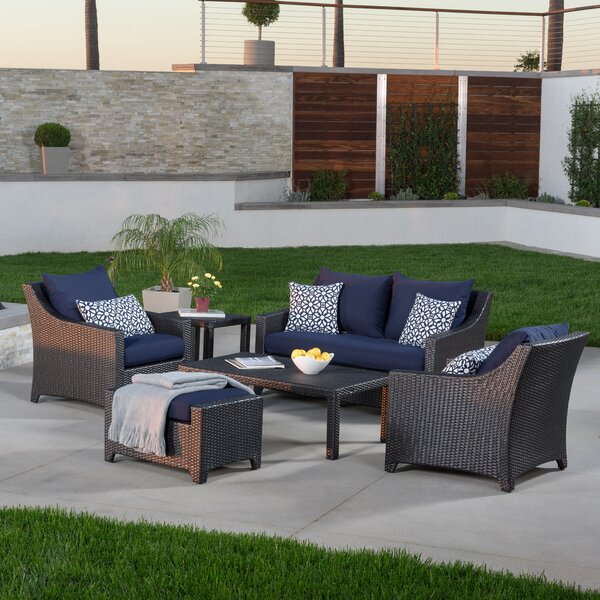 Northridge 6 Piece Rattan Sunbrella Sofa Set with Cushions by Three Posts