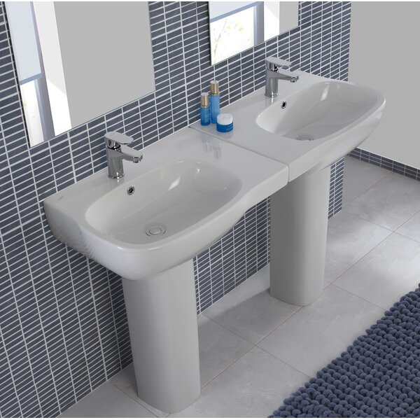 Moda 2 Piece Ceramic 26 Pedestal Bathroom Sink Set with Overflow by Bissonnet