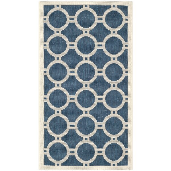 Jefferson Place Navy/Beige Outdoor Area Rug by Wrought Studio