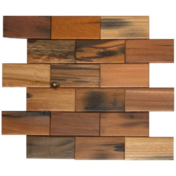Offset 2 x 4 Wood Look Glass Mosaic Tile in Antique Brown by Susan Jablon