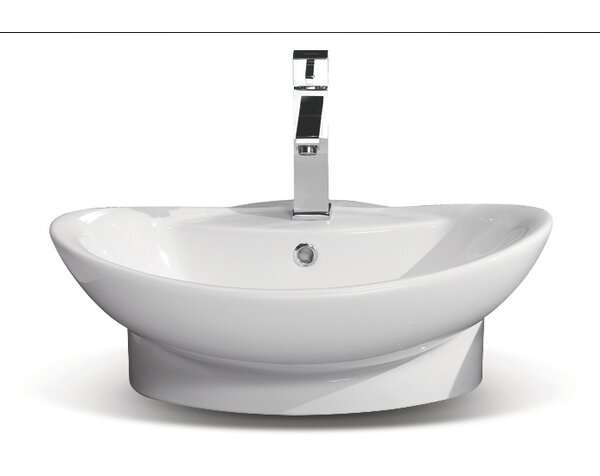 Rio Ceramic U-Shaped Vessel Bathroom Sink with Overflow by CeraStyle by Nameeks