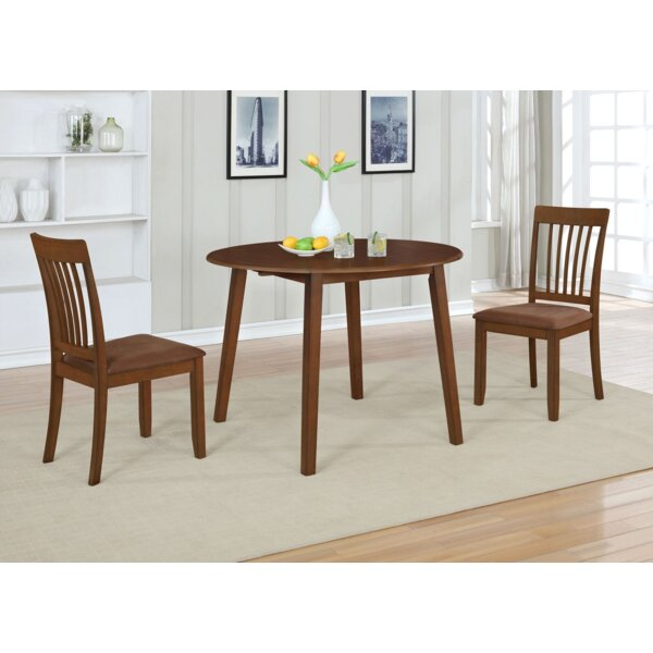 Innes 3 Piece Drop Leaf Solid Wood Dining Set by Ebern Designs