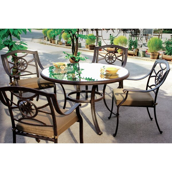 Thompsontown 5 Piece Dining Set with Cushion by Alcott Hill