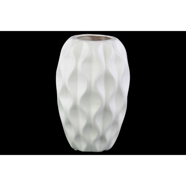 Blow Embossed Wavy Patterned Ceramic Table Vase by George Oliver