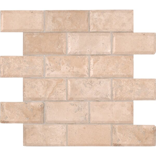 Tuscany Ivory Mounted 2 x 4 Travertine Subway Tile in Ivory by MSI