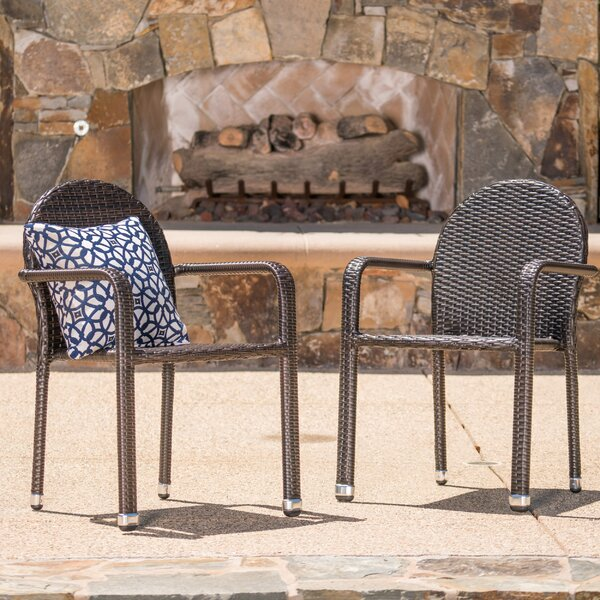 Wiesner Stacking Patio Dining Chair (Set of 2) by Wrought Studio Wrought Studio