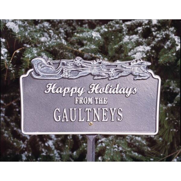 Happy Holidays Garden Sign with Sleigh by Whitehall Products