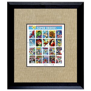 'U.S. Stamp Sheet Super Heroes' Framed Graphic Art Print by American Coin Treasures