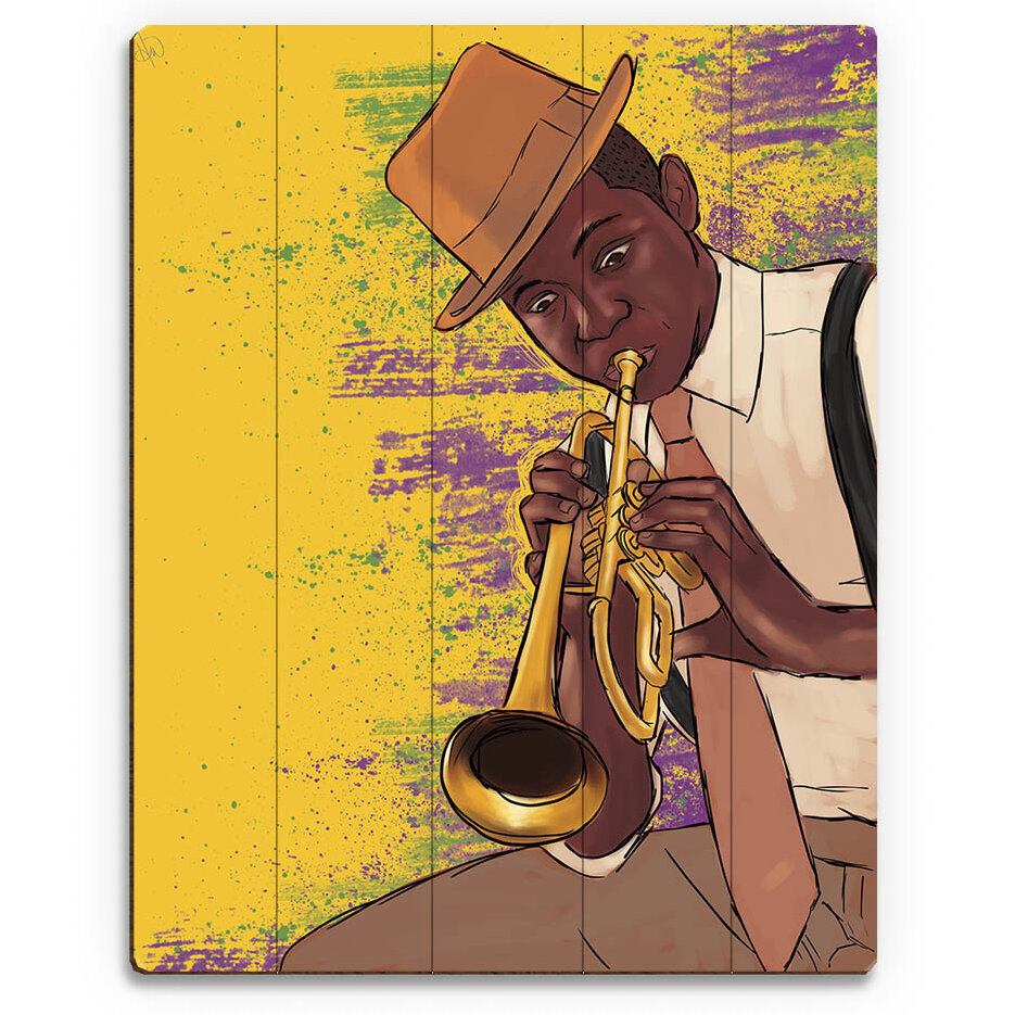 Click Wall Art \'Playing the Trumpet\' Graphic Art on Plaque | Wayfair