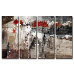 'Abstract' 4 Piece Print of Painting on Canvas Set by Ready2hangart