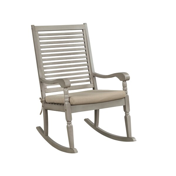 Linares Elegant Hardwood Porch Rocking Chair with Cushions by Highland Dunes