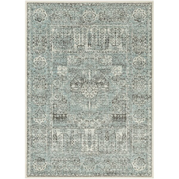 Vanita Distressed Traditional Wool Aqua/Beige Area Rug by House of Hampton