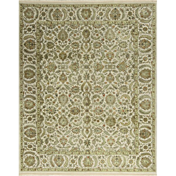 One-of-a-Kind Sheela Hand-Knotted Ivory/Green Indoor Area Rug by Bokara Rug Co., Inc.