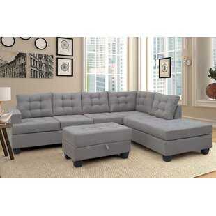 Nissen Right Hand Facing Sectional with Ottoman