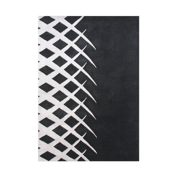 Cleveland Hand Tufted Wool Black/White Wool Area Rug by Orren Ellis