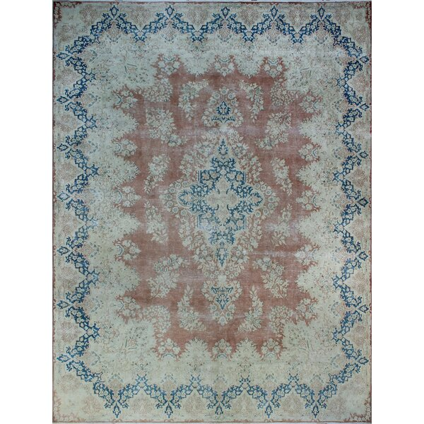 One-of-a-Kind Amado Distressed Hand-Knotted Wool Blue/Brown Are Rug by Isabelline
