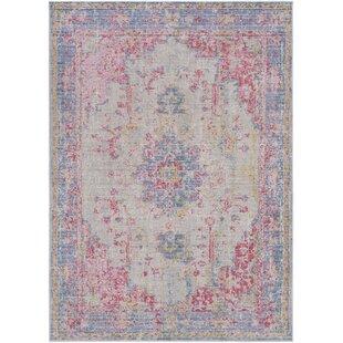 kahina vintage distressed oriental pinkblue area rug