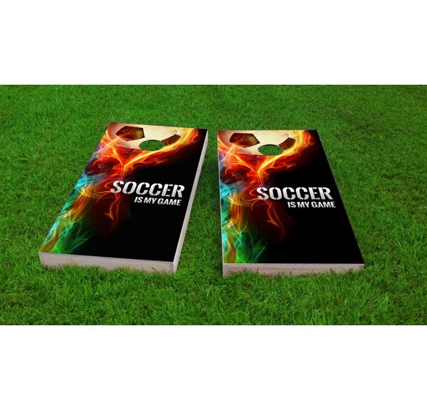 Flaming Soccer Ball Cornhole Game Set by Custom Cornhole Boards