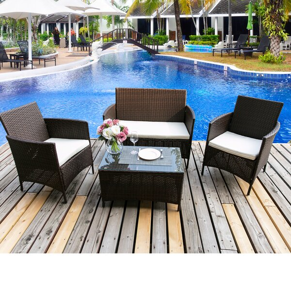 Brewington 4 Piece Rattan Sofa Seating Group With Cushions By Freeport Park®