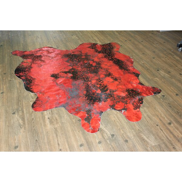 One-of-a-Kind Neale Hand-Woven Cowhide Red Area Rug by Brayden Studio