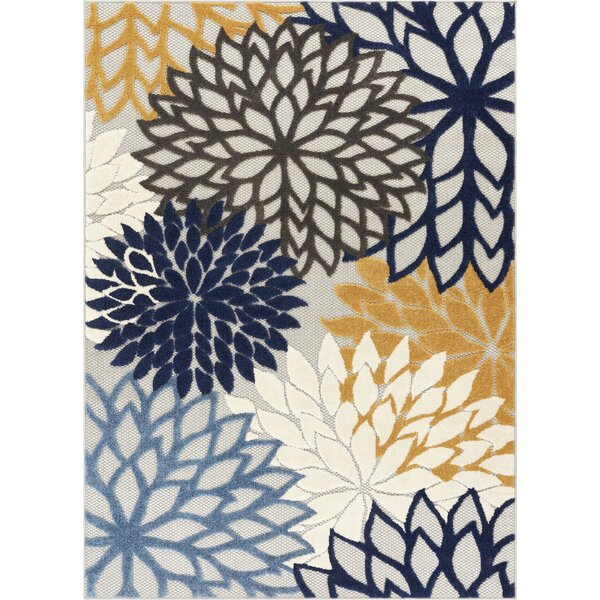 Dorado Monica Modern Floral High-Low Blue Indoor/Outdoor High-Low Area Rug by Well Woven