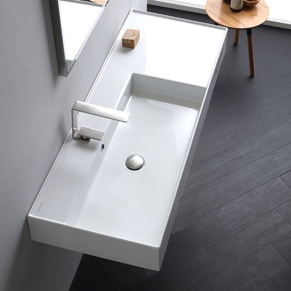 Ceramic 40'' Wall Mounted Bathroom Sink with Overflow by Scarabeo by Nameeks