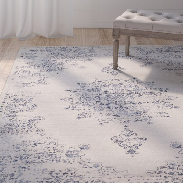 Blue Hill Vintage Ivory/Blue Area Rug by One Allium Way