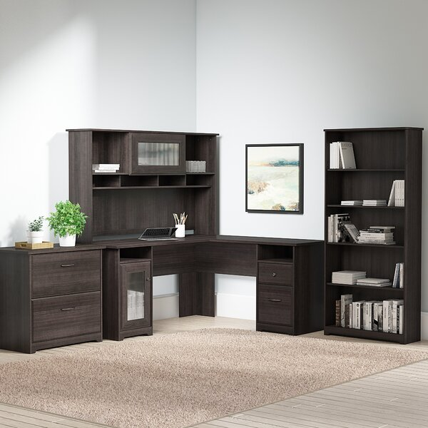 Hillsdale L-Shape Desk with Hutch Lateral File and 5 Shelf Bookcase by Red Barrel Studio