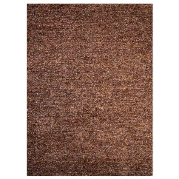 Lindquist Gabbeh Hand-Knotted Silk Brown Area Rug by Red Barrel Studio