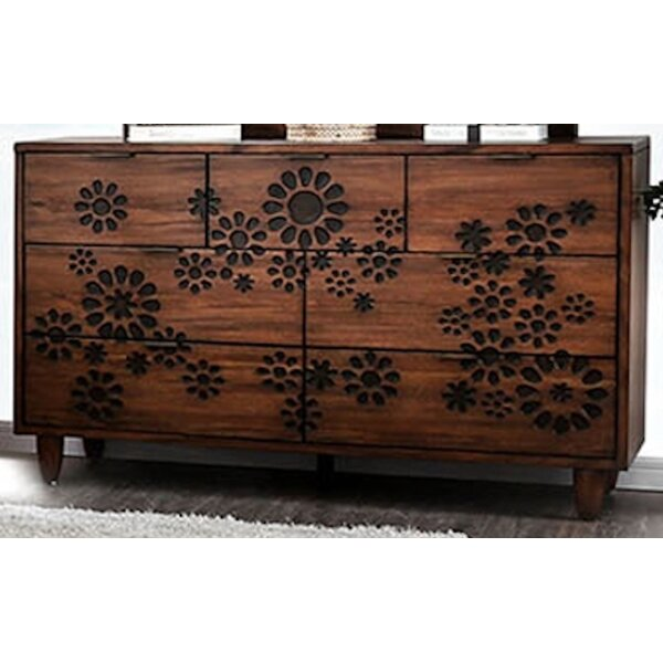 Turco Burnt Wood Floral Pattern Design 7 Drawer Double Dresser by Canora Grey