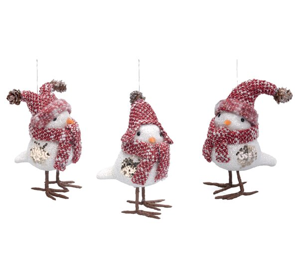 3 Piece Christmas Bird Ornament Set by Corrigan St