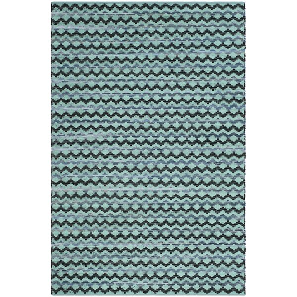One-of-a-Kind Zoltán Hand-Woven Cotton Turquoise Area Rug by Gracie Oaks