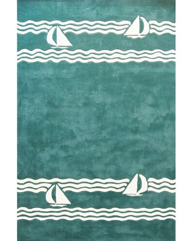 Beach Rug Teal Sailboat Novelty Rug by American Home Rug Co.