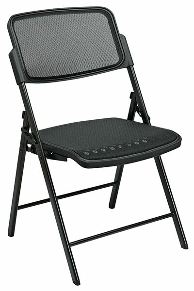 Deluxe Folding Chair With ProGrid Seat and Back (2-Pack), Gangable, Beige, Black or Silver by Office Star Products