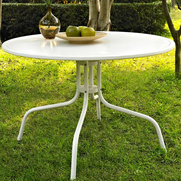 Timothea Metal Dining Table in White by Mercury Row