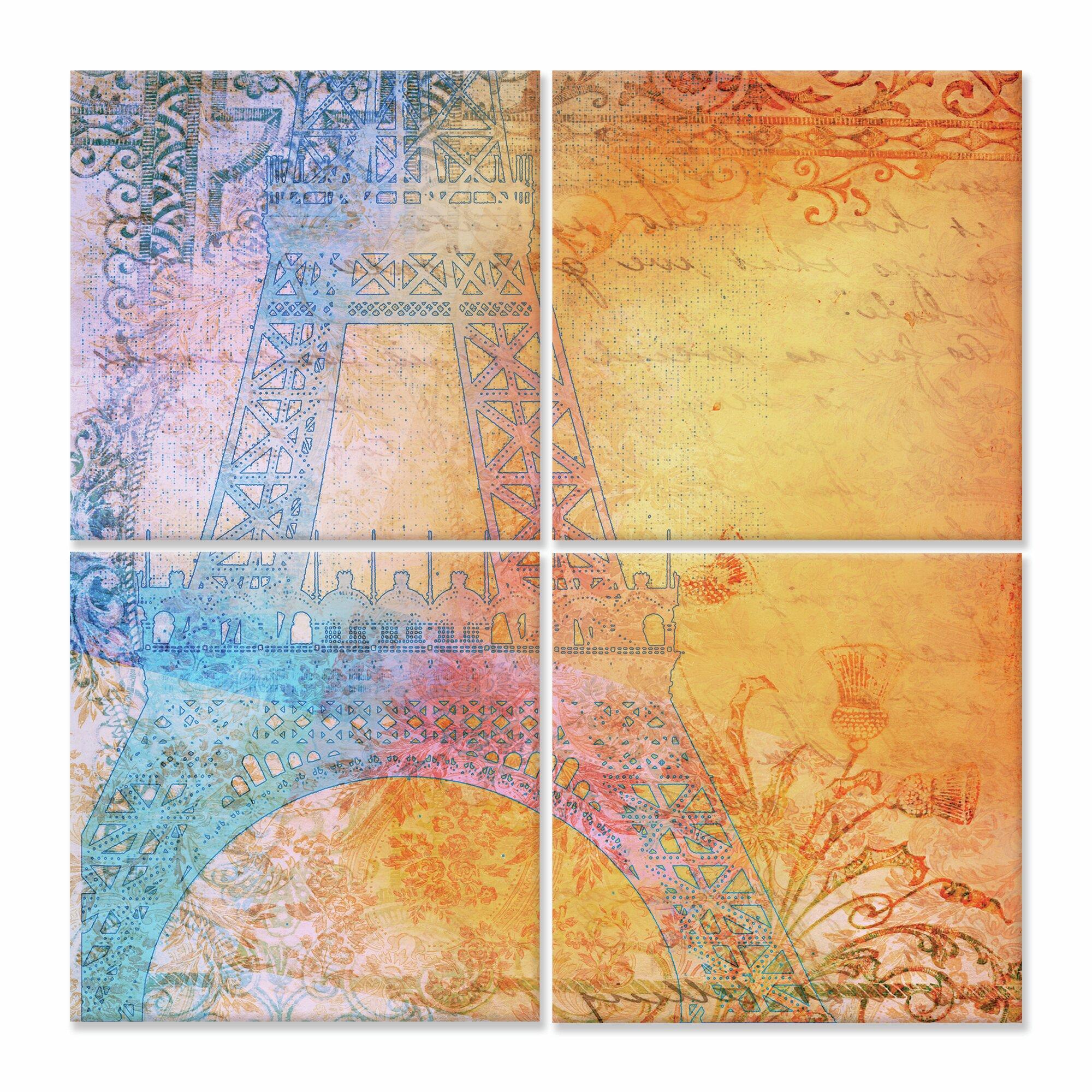 Stupell Industries Bright Paris Eiffel Tower Square 4 Piece Canvas ...