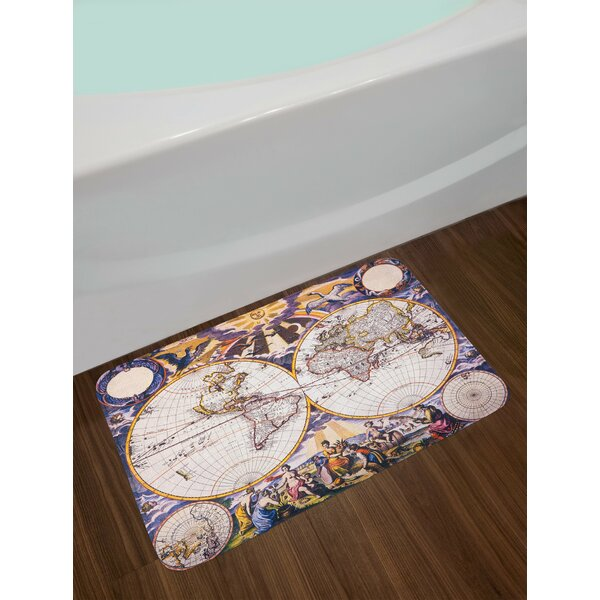 World Map with Farmers Field Sun Birds Clouds Fantasy Sky in Old Painting Non-Slip Plush Bath Rug by East Urban Home
