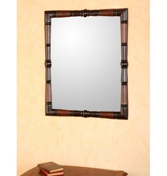 Contemporary Artisan Hand Tooled Leather and Wood Wall Mirror by Novica