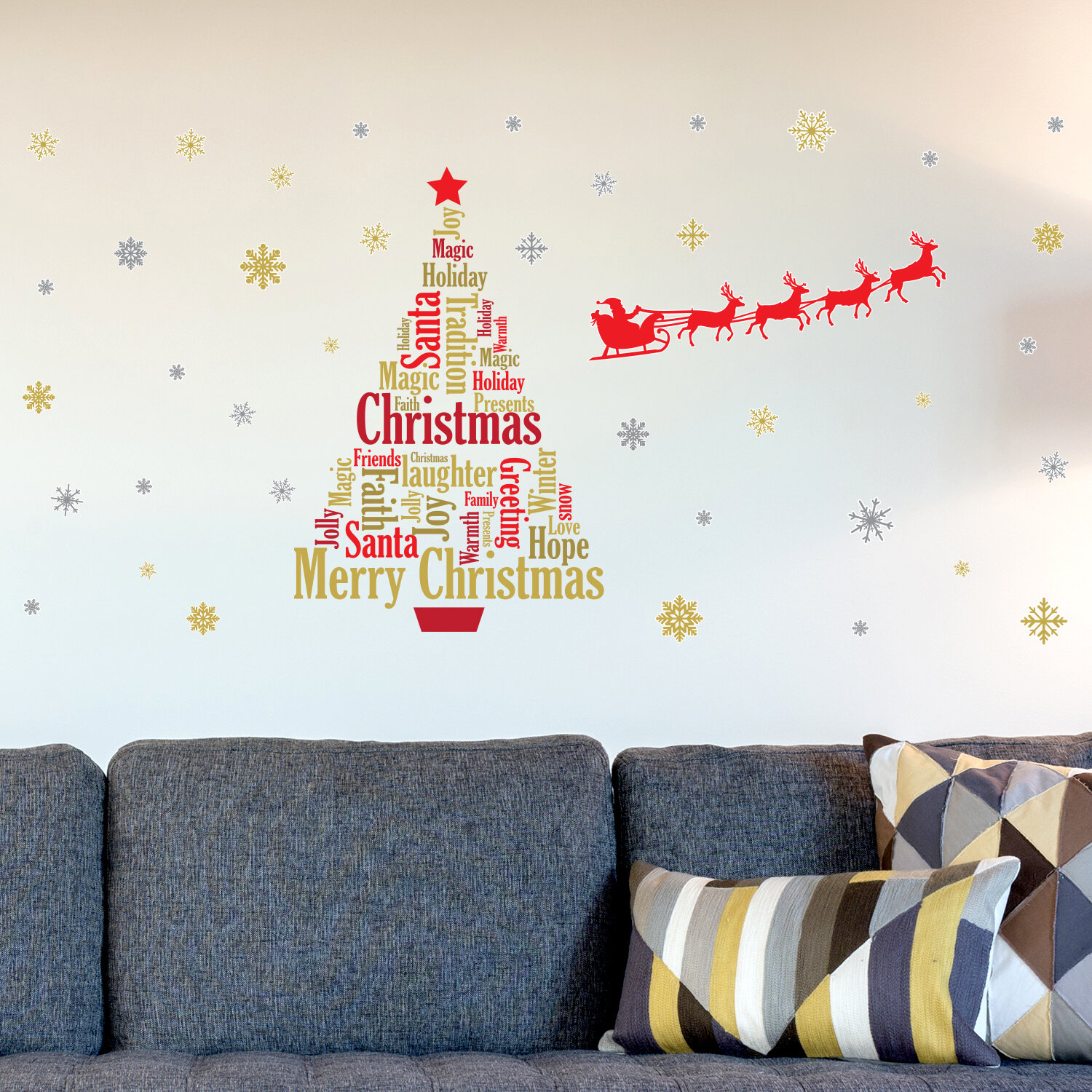 The Holiday Aisle English Quotes Santau0027s Sleigh Christmas Tree Wall Decal U0026  Reviews | Wayfair