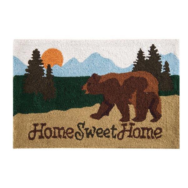Farid Home Sweet Home Lodge Parfait Brown Area Rug by Loon Peak