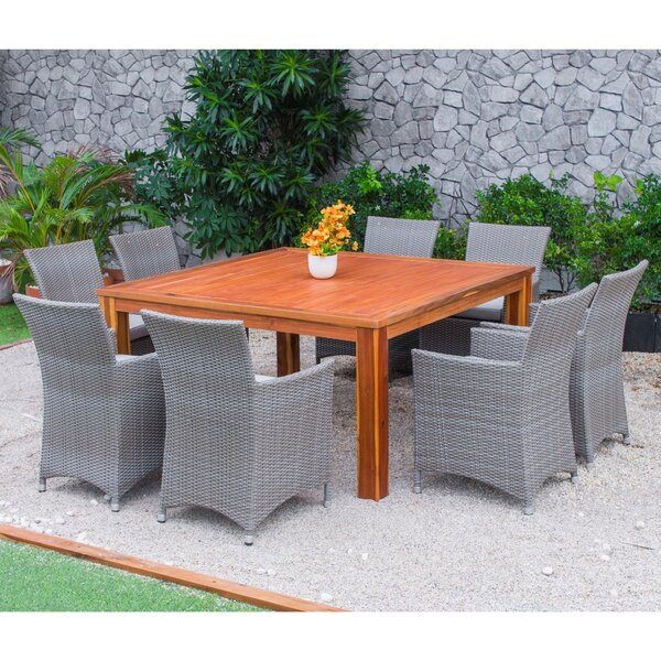 Bozrah Poly Rattan 9 Piece Dining Set with Cushions by Latitude Run