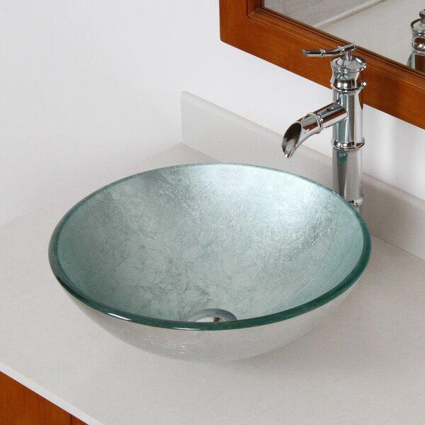 Hand Painted Glass Circular Vessel Bathroom Sink by Elite