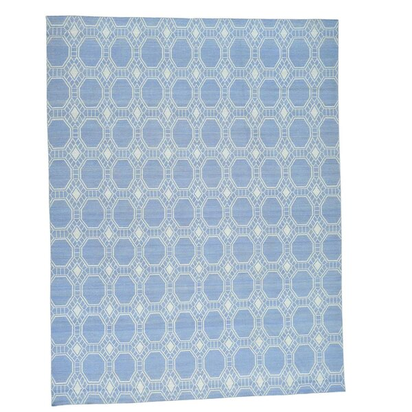 One-of-a-Kind Reversible Flat Weave Durie Kilim Hand-Knotted Blue/Ivory Area Rug by Bungalow Rose
