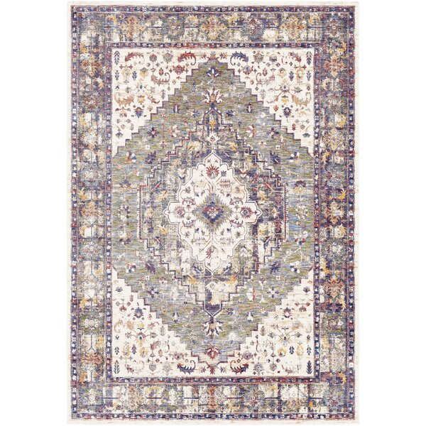 Richmond West Floral Moss/Ivory Area Rug by Bloomsbury Market
