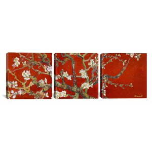 Vincent van Gogh Almond Blossom 3 Piece Painting Print on Wrapped Canvas Set in Red by iCanvas