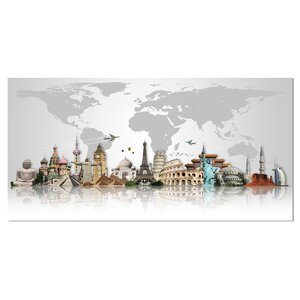 'Famous Monuments Across World' Graphic Art on Wrapped Canvas by Design Art