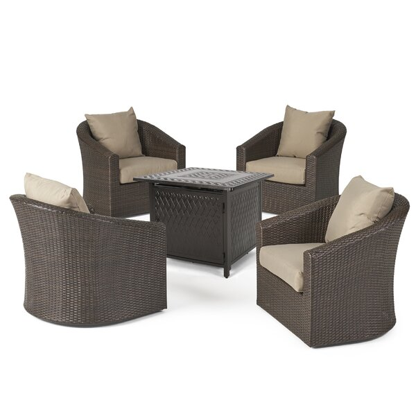 Rafael 5 Piece Rattan Multiple Chairs Seating Group with Cushions