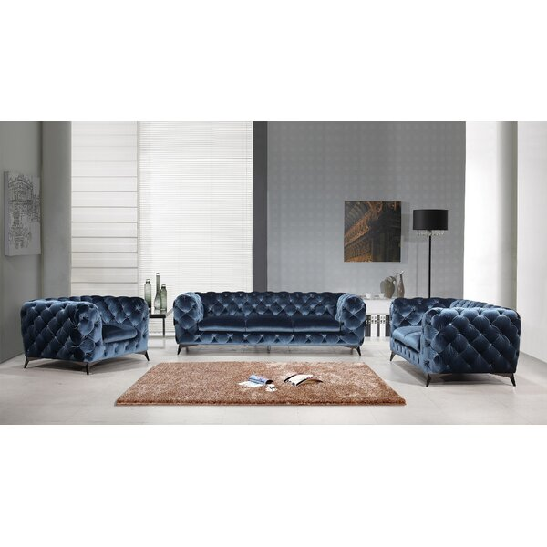 Azu 3 Piece Living Room Set by Everly Quinn